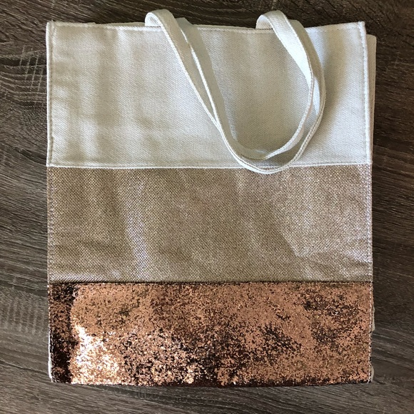 eacbdb2c8 Clarins Bags | Canvas Rose Gold Glitter Tote Bag | Poshmark